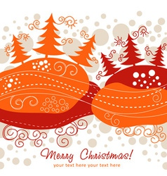 Ornate christmas card with xmas trees vector