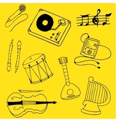 Doodle of theme music stock collection vector image