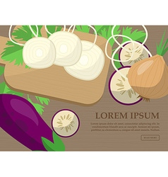 Set with onions eggplant parsley and kitchen vector