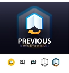 Previous icon in different style vector image