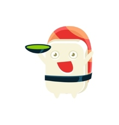 Serving soup funny maki sushi character vector