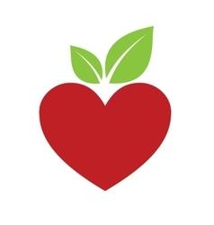 Red apple heart vector