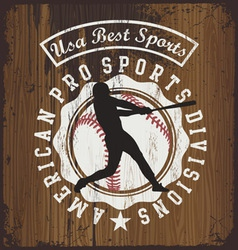 Baseball wood board vector