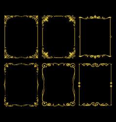 ornate golden frames set over black vector image