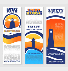 Lighthouse safety transportation banners vector