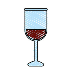 Color crayon stripe image glass cup with wine vector