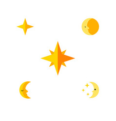 Flat icon night set of lunar nighttime moon and vector