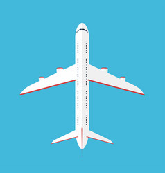 airplane in the sky commercial airplane in top vector image