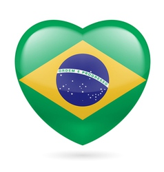 Heart icon of brazil vector