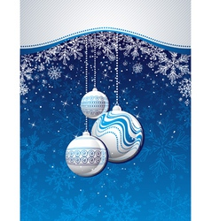 Blue christmas background with golden balls vector