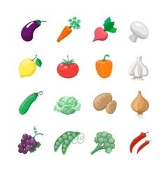 Vegetables icons flat set with potatoes broccoli vector