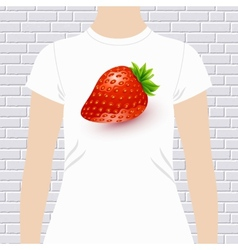 Fun t-shirt design with a luscious ripe strawberry vector