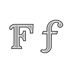 Font tattoo engraving letter f with shading vector