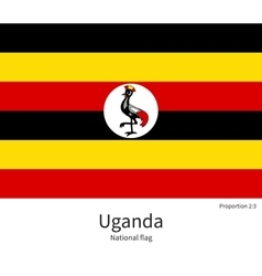 National flag of uganda with correct proportions vector