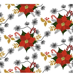 Poinsettia flower pattern vector