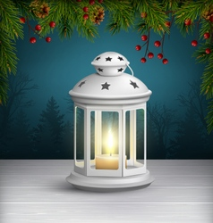 Christmas lantern on wooden floor with pine vector