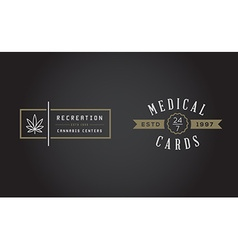 Set of medical cannabis marijuana sign or label vector