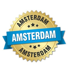 Amsterdam round golden badge with blue ribbon vector