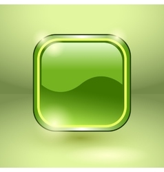 Glossy square empty button vector