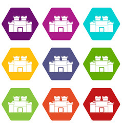 ancient fortress icon set color hexahedron vector image vector image