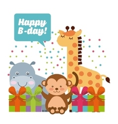 animal cute birthday party celebration vector image
