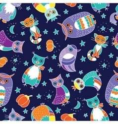 Background with owls and cats vector image