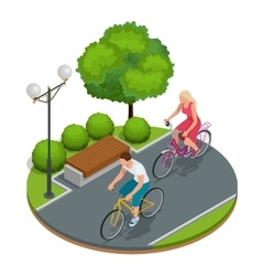 Bikers in park cycling on bike path weekend vector