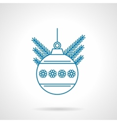 Blue flat line ball with snowflakes icon vector image