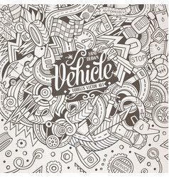 cartoon cute doodles vehicle frame vector image