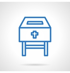 Charity box blue line icon vector