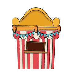 Circus tickets sale kiosk cartoon booth pennant vector
