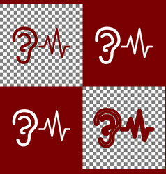 Ear hearing sound sign bordo and white vector