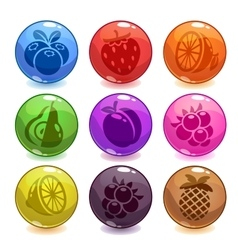 Funny colorful bubbles with fruit icons incide vector image