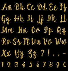 Gold alphabet isolated on black background vector