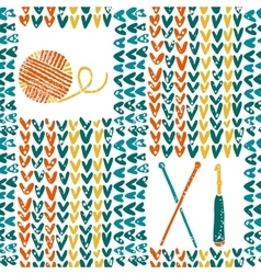 Knitted pattern with needles crochet and yarn vector image