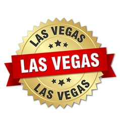 Las vegas round golden badge with red ribbon vector