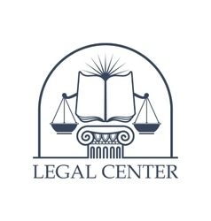 Legal center scales of justice law open book icon vector