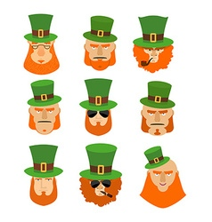 Leprechaun set head Funny and serious facial vector image