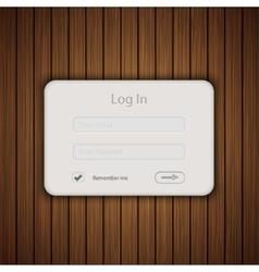 login form on wooden background Eps 10 vector image