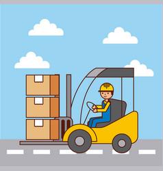 logistic worker driver forklift loading cardboard vector image vector image