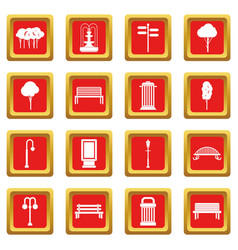 Park icons set red vector