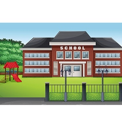School building and green lawn vector