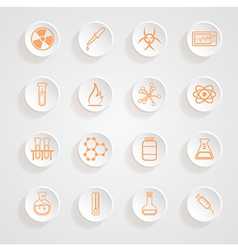Science series icons button shadows set vector