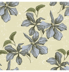 seamless ornament wih hand drawn clematis flowers vector image vector image
