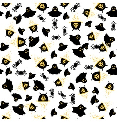 Seamless Pattern with Spider Ghost and Cauldron vector image