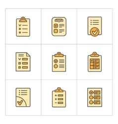 Set color line icons of checklist vector image vector image