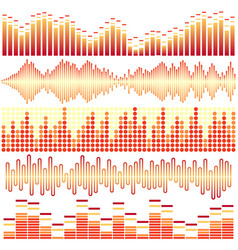 Set of orange sound waves vector