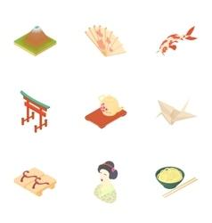 South korea icons set cartoon style vector