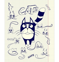 Stylized cats in different emotions vector