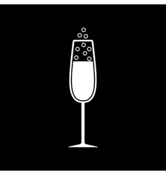 The glass of champagne icon Wine symbol Flat vector image